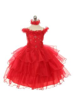 This stunning dress is in a class all by itself! The pretty organza dress is full of ruffles that give the dress lots of volume. We love the off shoulder sleeve. Red Flower Girl Dresses, Girls Formal Dresses, Little Girl Dresses, Dress Red, Sparkling Stars, First Communion Dresses, Organza Dress, Christening Gowns, Pageant Dresses