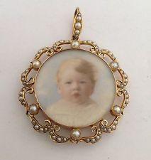 исключительную викторианского 15ct золото и из натуральных семян жемчуг и миниатюрный кулон медальон