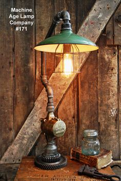 Steampunk Lamp, Antique Gear and Barn Shade #171