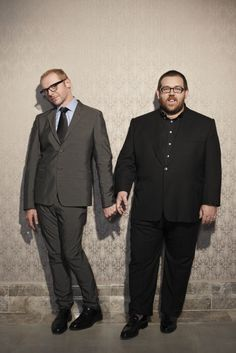 Comedy duo Simon Pegg and Nick Frost, photographed by Jay Brooks for The Guardian (© Simon Pegg, Nick Frost, Nerd Love, My Love, Comedy Duos, Funny People, Funny Men, Famous Faces, The Guardian