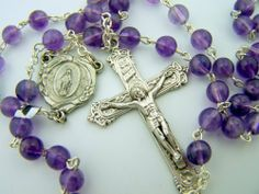 Rare Catholic Glass Amethyst Beads Silver Rosary Miraculous Mary Cross Jesus Needzo Religious Gifts. Save 30 Off!. $34.95