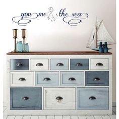 19.5 in. x 17.25 in. You, Me and the Sea Wall Decal, Blue