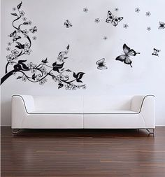 Amazon.com - Hunnt® Home Removable Recycling Wall Sticker Decals Black Tree Black Butterfly with White Flowers - Wall Decor Stickers