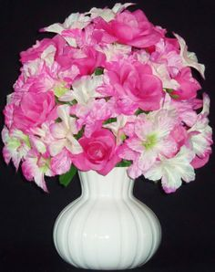 Silk Flower Arrangement  Pink Roses and Pink by BeautyEverlasting, $23.95
