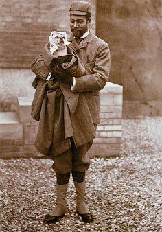 Prince George, Prince of Wales and his dog circa 1902