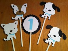 12 puppy cupcake toppers, dog cupcake topper, dalmatians, terriers, baby shower, first birthday, baby boy, baby girl, kids party on Etsy, $8.76