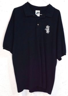Dynasty Mens Black Embroidered Chicago White Sox Mens Short Sleeve Polo Shirt XL #Dynasty #PoloRugby
