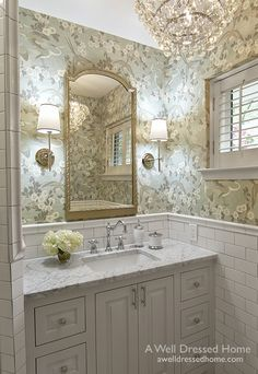 """When our sweet client (and long time blog follower) contacted us last Fall, she was more than eager to trade in her 1950's """"pepto pink"""" master bath for a brighter and cleaner retreat. She craved a cri"""