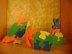 animales en puzzles de madera.