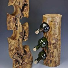 Aspen Bottle Holders...or if you had a log wall bar in your man cave you could use this as a bottle holder from floor to ceiling :)