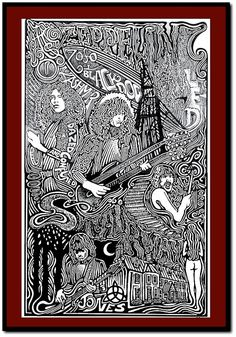 Led Zeppelin Poster, by Posterography ☮ American Hippie Classic Rock Music ~ Psychedelic Art . Led Zeppelin Tattoo, Led Zeppelin Poster, Led Zeppelin Art, Rock Posters, Band Posters, Retro Posters, Movie Posters, Psychedelic Art, Rock And Roll