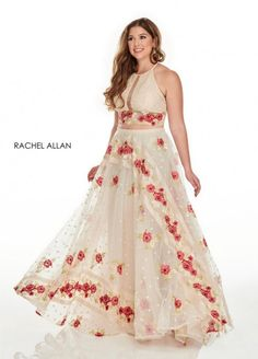 Style 7233 from Rachel Allan Curves is a two piece plus size ballgown that has floral embroidery on the skirt and waistline and a high neck top.