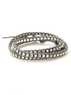 Leather & Crystal Wrap Bracelet by Chan Luu at Gilt