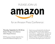 Another Tablet?: Amazon has just emailed out an invite for a press conference to be held the morning of Thursday, Sept. 6, in Santa Monica, Calif.