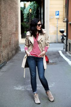 red stripes + trench coat in Italy