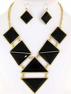 Chunky Bib Black Charm Gold Chain Necklace Earring Set Fashion Costume Jewelry | eBay