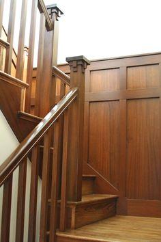 Kathleen & Matt's California Craftsman – staircase Craftsman Staircase, Craftsman Interior, Craftsman Furniture, Craftsman Style Homes, Craftsman Bungalows, Craftsman Houses, Craftsman Trim, Interior Stairs, Interior Trim