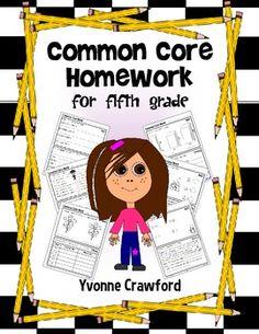 Common Core Homework for Fifth Grade $