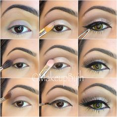 """Pictutorial  enjoy !! 1-Apply UD potion primer 2-Apply Mac """" haux"""" on crease. 3-Apply Mac """"orb"""" on brow bone. 4-Apply Mac paint pot """"bare study"""" on lid. 5-Apply makeup forever """"diamond beige 306"""" on lid. 6-Apply Mac blacktrack gel eyeliner and color your waterline. 7-Apply Lashes """"red cherry # 217"""""""