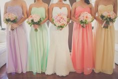 Wedding Ideas, pastel wedding color, pastel bridesmaids, blush wedding, light blue wedding colors, light pink wedding colors