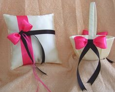 Black and Fucshia Hot Pink Wedding Flower Girl Basket And Ring Pillow Set