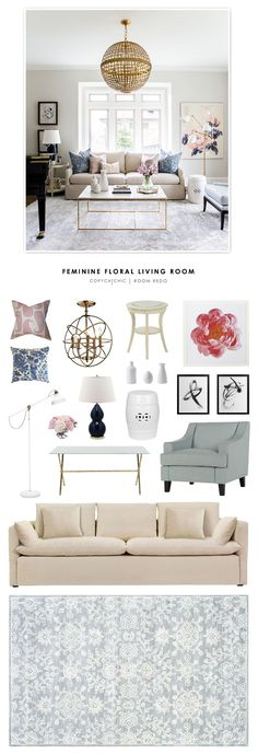 Copy Cat Chic Room Redo | Feminine Floral Living Room