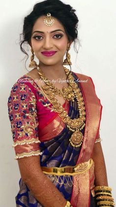 Makeup by Vejetha Anand, Bangalore, India. Welcome to the official page of professional makeup artist and bridal makeover specialist Vejetha. Sari Blouse Designs, Bridal Blouse Designs, Vaddanam Designs, Maggam Work Designs, Bridal Silk Saree, Silk Sarees, Indian Jewellery Design, Bridal Jewellery, Temple Jewellery