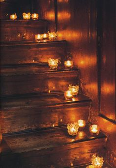 This is a really romantic thing to do for when your man had a long day at work... let the candles lead to a nice hot bath, where you'll be waiting with massage oil and some sexy lingerie... Oh, the possibilities!