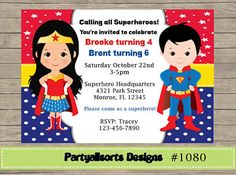 DIY Superhero Wonderwoman And Superman By PartyAllsortsDesigns Birthday Party Girl