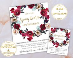 Young Women New Beginnings Invitation + Flyer Editable PDF Template Red Flowers, New Beginnings Invite, LDS Young Womens invite, PRINTABLE by LineDesignArts on Etsy