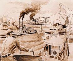 Thomas Hart Benton, On the Old Ohio, 1944 Anton, Submarine Museum, American Realism, Grant Wood, Social Realism, Submarines, Printmaking, Wwii, Illustrators