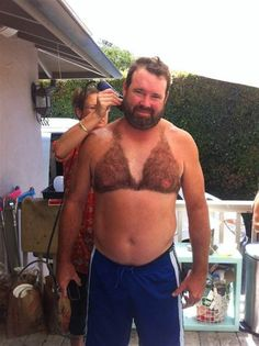 Dude,your nipples are visible through the bikini! 12 men who have been a little too creative with the styling bushes on the chest