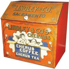 Lindley & Co.'s Cherubs: Cherub Coffee / Cherub Tea vintage grocery store metal  display bin, slant top w/ artwork of Renaissance cherubs or angels, from Lindley & Co. of Sacramento, CA, early 20th century, tin metal, USA