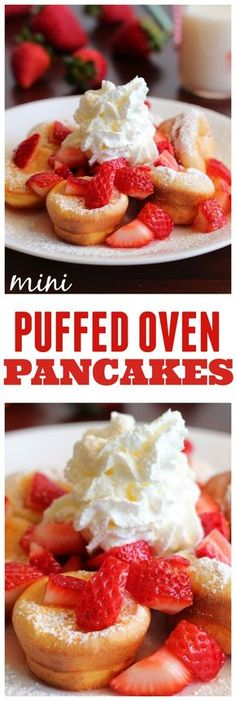 Oven Pancakes Amazing Mini Puffed Oven Pancakes that are perfect topped with some fresh fruit and whipped cream!Amazing Mini Puffed Oven Pancakes that are perfect topped with some fresh fruit and whipped cream! Delicious Breakfast Recipes, Brunch Recipes, Dessert Recipes, Yummy Food, Desserts, Breakfast Desayunos, Breakfast Dishes, Crepes, Oven Pancakes