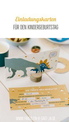 Schöne Einladungskarten für den Kindergeburtstag - passend zur eurer Geburtstagsparty. Einfach Lücken ausfüllen und Einladungen verteilen. Party Box, Safari Party, Place Cards, Place Card Holders, Invitation Cards, Games, Kuchen, Simple