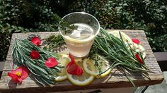 Healthy homemade fall/winter beverage! Chef Greg Gettles of The Umstead Hotel/ Spa in Cary NC offers up this herb-a-licious elixir to help ward off and relieve symtoms of the common cold and change-of-season sniffles. Buy local!  This vitamin-packed pick-me-up combines potassium and calcium-rich lemon and ginger — which has antioxidant and anti-inflammatory effects — plus relaxing lavender and thyme to help relieve coughs, bronchitis, and chest congestion.