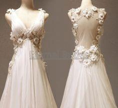V-neckline Wide Straps with Flowers Beaded Sheer Open Back Empire Waist Chiffon Prom Dress/ Beach Wedding Dress/ white/ Red/ Ivory