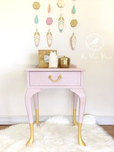 Gold Dipped Cabriole legs using Fusion Metallics. Queen Anne Bedside painted in ASCP Antionette. Fit for the prettiest of princesses!