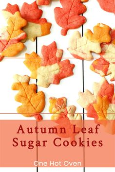 Bake a batch of these colorful Autumn Leaf Sugar Cookies flavored with maple syrup for a fun fall treat. The recipe for these cutout cookies is simple and they are defiantly fun to make with different leaf cookie cutters. Leaf Cookies, Cut Out Cookies, Sugar Cookies, Chocolate Chip Cookies, Fall Dessert Recipes, Snack Recipes, Kitchen Recipes, Fall Recipes, Snacks