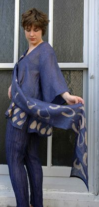 Indigo    Linen gauze blouse, hand-painted, from the CHRZASZCZ studio    perfect for working at home, throwing over a tank or plain t shirt
