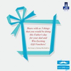 A father is one who is unsung, unpraised, unnoticed, and yet one of the most important person in the family. Share with us 3 things that you would be doing this Father's day for your dad and Win Exciting Gift Vouchers! #BestDadever Don't forget to check the rules visit: https://www.facebook.com/notes/jaycee-homes/bestdadever-contest/856375024474448