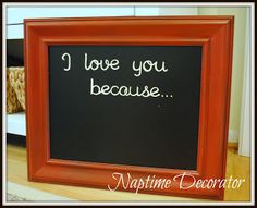 DIY Chalkboard wedding gift lets the bride & groom leave love notes for one another (Naptime Decorator)