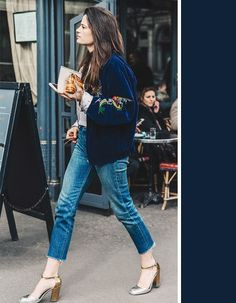 A dark medium denim wash looks great paired with navy blue. Since the jeans are not dark enough to wash out the navy color, the two different shades end up bringing out the best blues in each other.