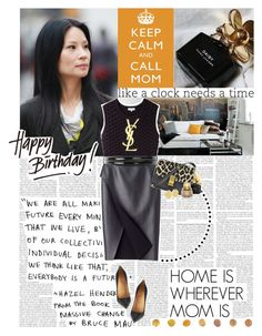"""HAPPY B-DAY, MOM! ♥"" by sssdmr ❤ liked on Polyvore featuring Opening Ceremony, COSTUME NATIONAL, Yves Saint Laurent, Christian Louboutin, Marc Jacobs, CÉLINE, pointed-toe pumps, midi skirts, leather skirts and waist belts"