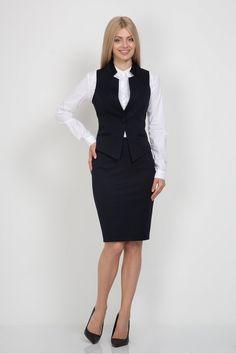Жилет Emka Fashion GL-004-djolin Vest Outfits For Women, Suits For Women, Clothes For Women, Look Office, Office Looks, Michelle Obama Fashion, Best Leather Jackets, Pencil Skirt Black, Professional Attire