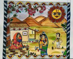 Indian Art Traditional, Clay Wall Art, Art Village, Madhubani Art, Madhubani Painting, Gold Wallpaper, Fabric Painting, Doodle Art, Female Art