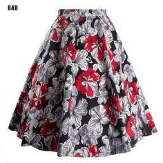 Summer High Waist Floral Print Midi Tutu Skirts