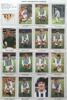West Brom team stickers for World Football, Football Kits, Football Cards, Football Soccer, Baseball Cards, West Bromwich Albion Fc, Tony Brown, Laws Of The Game
