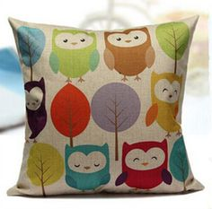 Find More Pillow Case Information about Cushion Cover Owls Home Decorative  Pillowcase Bedroom Decorative Pillow cover 45*45cm Linen Cushion/pillow Case,High Quality cushion water,China cushion pillow case Suppliers, Cheap cushion for swing chair from Winne on Aliexpress.com
