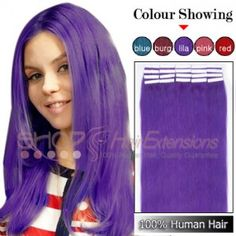 20 Inch 20pcs Tape Premium Remy Human Hair Extensions Straight Lila